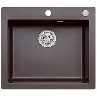 AXIS KITCHEN Mojito 60 Küchenspüle Farbe Axis Dark Chocolate Braun Material Axigranit 60er Unterschrank Spülbecken Siphon, Exzenterbedienung