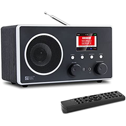 Ocean Digital DB280C DAB / DAB / FM Radio con Bluetooth pantalla a Color LCD y madera escritorio música Media Player altavoz-negro