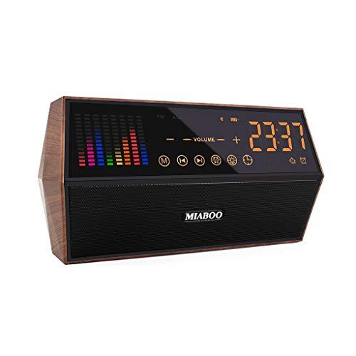 Huacat Bluetooth Lautsprecher Dual-Lautsprecher Holz Wireless Radio zeigt Zeituhr Stereo car subwoofer kabelloser Lautsprecher Dual-bandpass-system