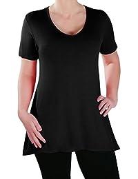 Eyecatch - Delphine Col En V Aux Femmes Plus Taille Tops Manche Courte Décontractée Dames Long Évasée T-Shirt Tunique Tops