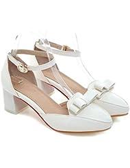 LDMB Womens Shallow Boca Corte Zapatos Cómodo Con Bajo Tacón Con Closed Toe Bow Bowle Casual Sandalias , white , 39