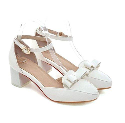 Delle donne della bocca poco profonda Court scarpe confortevoli, con tacco basso con chiusura Toe Bow Fibbia sandali Casual white