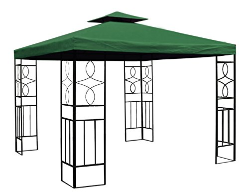 WASSERDICHTER Pavillon 3x3m Grün ROMANTIKA Metall inkl. Dach Festzelt wasserfest Partyzelt