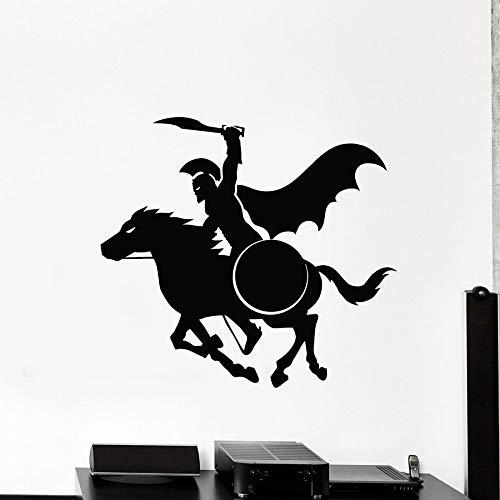 Tianpengyuanshuai Vinyl wandaufkleber antiken griechischen Samurai reiten Schild fensterglas Aufkleber cool Mural Junge Schlafzimmer Dekoration 57x62 cm