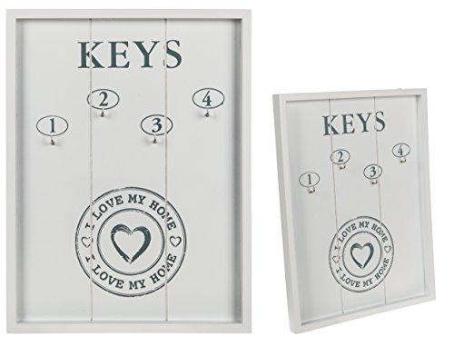 Knöpfe Vier Haken (Bada Bing Schlüsselbrett I LOVE MY HOME Holz Keys mit 4 Haken weiß grau)