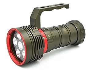 Lampe Torche de Plongée Sous-Marine Etanche à 200M 9000 Lumens 6 Led Cree XM-L L2 Skay Ray Dx6 Avec Poignée