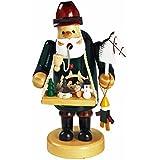 """Räuchermännchen Räuchermann Räucherfigur Rauchfigur mit Bauchladen """"Spielzeughändler"""" ca. 14 cm hoch, aus Holz, Weihnachten Advent Geschenk (30123-14)"""