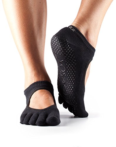 Toesox - Calcetines dedos Bellarina agarre calcetines, baile calcetines, 2 pares Value Pack Set, para baile, Barre, Yoga, Pilates, Fitness Antideslizantes Calcetines, negro, Large/8.5-10.5