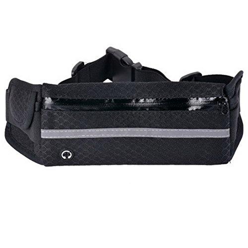 Wenyujh Damen Herren Unisex Gürteltasche Bauchtasche Hüfttasche Verstellbar Multifunktionen für Sport Reisen Outdoors Schwarz Grau