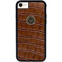 GAZZI iPhone 8, iPhone 7 Hülle Case Schale BackCover Lederhülle Handyhülle Schutzhülle Echt Leder, Rundumschutz, Flexible Schale, KROKO BRAUN