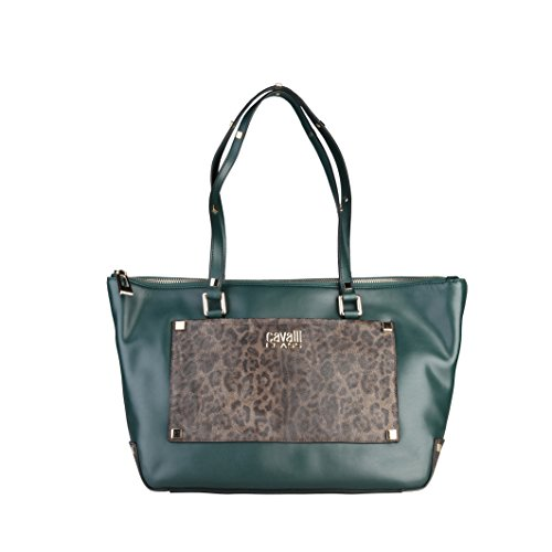 Cavalli Class Tilda Shopping bag Donna Verde Scuro/Leopardo