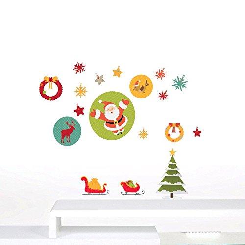 Wand Aufkleber Rodelschlitten Santa Claus und Weihnachten Dekor Full Set Gr. 60 x 30 cm