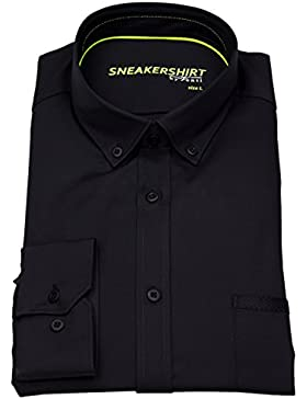 Venti Herren Hemd Slim Fit Button Down Stretch schwarz 172824900 800