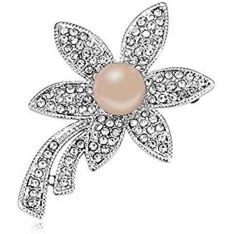 DEPOT TRESOR perno en forma de flor con perla y cristales de Swarovski, color perla Screw libre