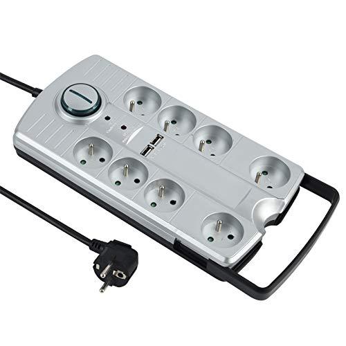 Electraline 35456 Steckdosenleiste mit 8 Steckdosen mit 2 USB-Anschlüssen, 2,1 A, mit Fußschalter, tragbar, mit ausziehbarem Griff. Steckdosenleiste, 1,5 m, Schwarz