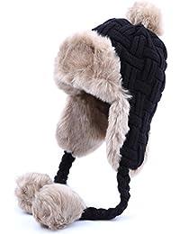 Kuyou Damen Winter Hut Ohrenschützer Trapper Warm Fellmütze