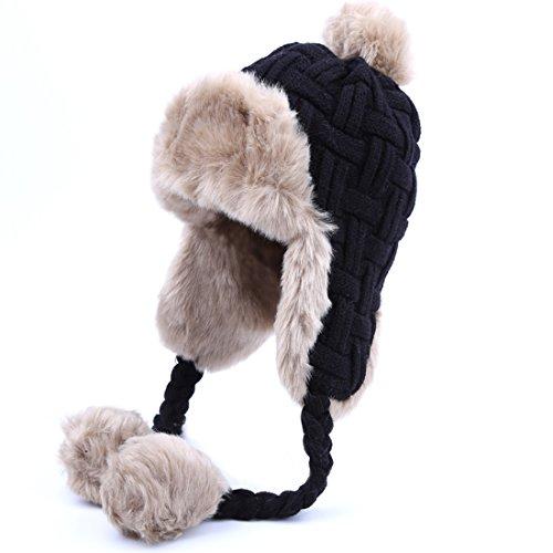 Kuyou Damen Winter Hut Ohrenschützer Trapper Warm Fellmütze, Schwarz, Einheitsgröße