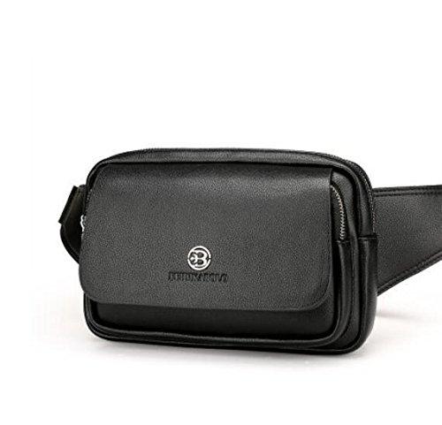 Pelle maschile Affari Elegante Portafoglio Multi-card PU solido di colore borsa Bifold di cuoio casuale interno staccabile lungo Pochette Marsupio Messenger Bag , black