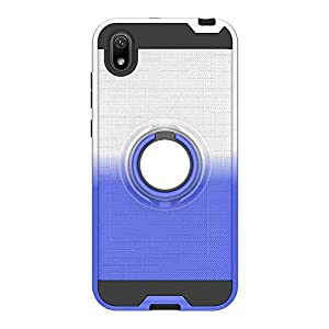 FAWUMAN Case for Huawei Honor 8S,Gradient Phone Protective Case with Phone Ring,Hard PC+ Soft TPU 2in1 Hybrid Double-layer Anti-slip 3D Fishnet Phone Cover (Silver-Blue)   1