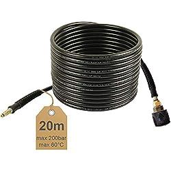 Rallonge de tuyau haute pression 20 m, 200 bar, 60 °C, Quick Connect, NW 6 x 1 adapté pour nettoyeur haute pression Kärcher