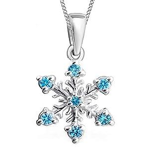 GH1a Kristall Schneeflocke Anhänger + Halskette 925 Echt Silber Mädchen Kinder Geschenkidee