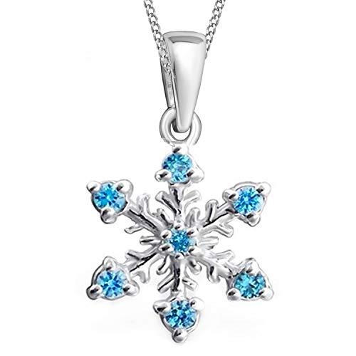 GH1a Kristall Schneeflocke Anhänger + Halskette 925 Echt Silber Mädchen Kinder ()