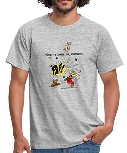 Spreadshirt Asterix und Obelix Krieger Spruch Höher Schneller Stärker Männer T-Shirt, XL, Grau meliert