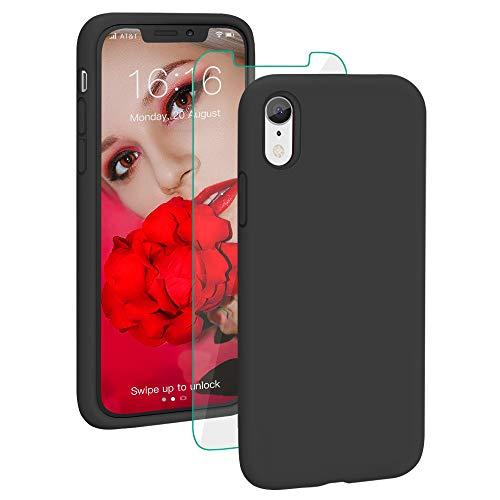 ProBien Coque pour iPhone XR, Silicone Liquide Case avec Ecran Verre Trempé Gratuit Housse...
