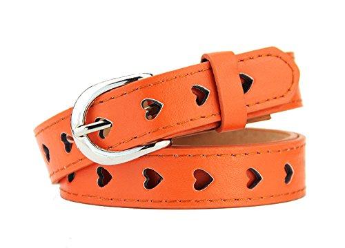 Nuovo Fashion da donna Cinture a cuore in lega fibbia cintura in pelle sintetica Orange 105 cm