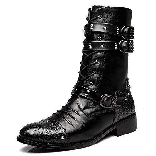 Mens Rivet Schnalle Dekoration Mitte Kalb Boot Reißverschluss Punk Rock Martin Stiefel Abriebfeste Schuhe Arbeit Utility Footwear,Black1-42