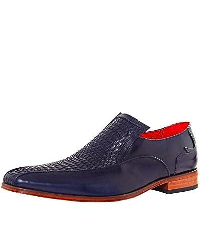 Jeffery-West Men's Woven Leather Loafers UK 9 Dark Blue