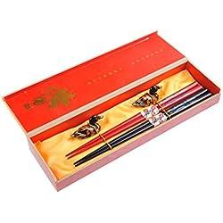 """Abacus Asiatica Basic: set palillos chinos hechos de bambú, diseño """"Dragón rojo y negro"""", viene en una sencilla caja de regalo (2 pares de palillos), Mod. CBR-S2-R-GH01 (DE)"""