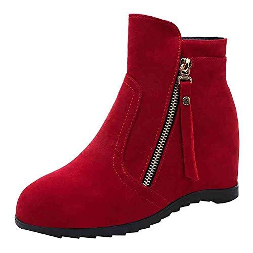 Meilleure Vente!Bottines en Daim pour Femmes LuckyGirls tête Ronde Wedge Chaussures Chaussures de Couleur Unie Fermeture éclair Martin Bottes 35-40