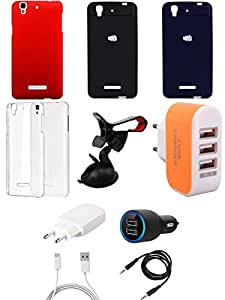 NIROSHA Cover Case Charger Mobile Holder car Combo for YU Yureka Combo