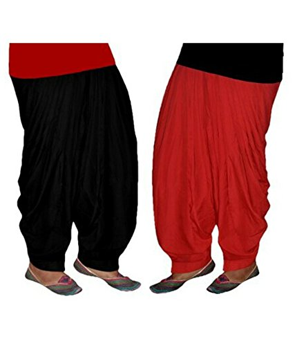 Shiva Collections black and red cotton patiala salwar