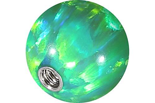PIERCINGLINE® Synthetischer Opal Schraubkugel mit Chirurgenstahl-Gewinde 1,6 mm hellgrün 6 mm Kugel -