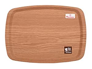 """Wooden Non Slip Drinks & Dinner Serving Tray (16.7"""") New Arrival Best Selling Premium Quality Lowest Price Anti Skid Dining Tray, Great for Indoor & Outdoor Use, Carry an Armful with Extreme Confidence, More Comfortable Serving, Sturdy Grip Surface, Durable, Wipe Clean with Damp Cloth, Helps Your Service Staff Support their Loads without Worrying about Cups, Plates or Glasses Moving about in the Tray, Perfect Tool for Excellent Service, Ideal for Home, Office, Restaurants, Cafe, Bars & Parties"""
