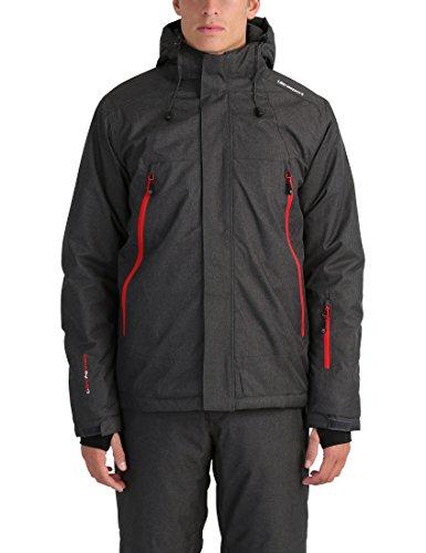 Ultrasport Herren Mel Ski-Outdoorjacke, Dunkelgrau/Rot, S (Handschuhe 180s)