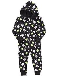 Kids Infant Boys Space Comic Hooded All In One Micro Fleece Jumpsuit Pyjamas Age 2-6 Years