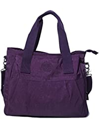 Big Hanbag Shop Large Fabric 3 Compartment Shopping Tote Shoulder Bag (Purple) By Big Handbag Shop