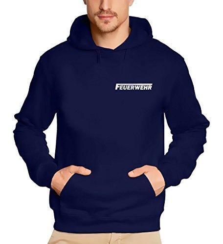 feuerwehr sweatshirt FEUERWEHR reflektierender Druck Sweatshirt mit Kapuze HOODIE Dunkelblau, Gr.M