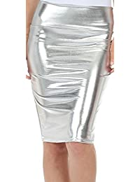 MIXLOT Damen Sexy Metallic Liquid High Taille Slim Fit Bleistift Midi Shiny Rock (L/XL, Silber)
