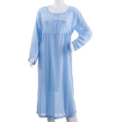 Romesa chemise de nuit à manches longues avec imprimé pois brodés fleurs-travaillées pour homme grandes tailles 3XL Bleu - Bleu clair