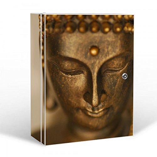 BANJADO Medizinschrank groß abschließbar / Arzneischrank 35x46x15cm / Medikamentenschrank aus Metall weiß mit Motiv Buddha