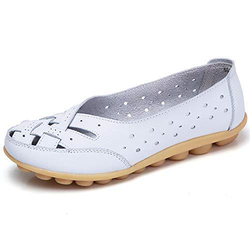 LILIHOT Damen Flache MüßIggäNger Damenschuhe Lady Flats Sandalen Leder KnöChel Casual Slipper Weiche Schuhe Mokassins Weiche Sohle Schuhe Zum Fahren Zu Fuß -