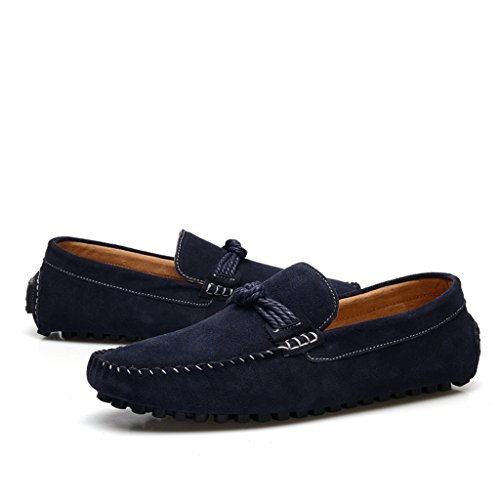 Men's Minitoo Classic Cordon de daim Walk Loafers nœud de route Bleu - bleu