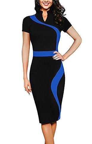 REPHYLLIS Damen Mode Knielang Etuikleid Business Kleid Elegantes Abendkleid Pencil Kleider L Blau