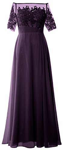 MACloth Women Off Shoulder Mother of Bride Dress Short Sleeve Lace Formal Gown Plum