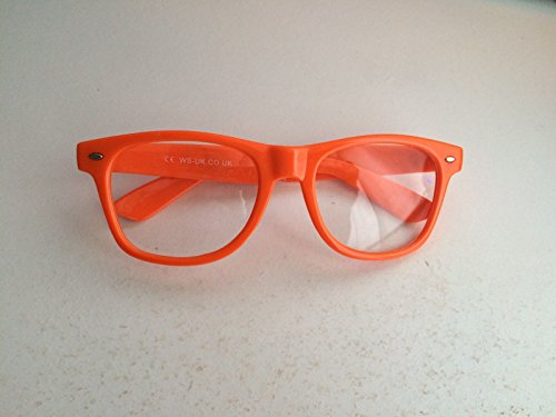 Orange Clear Lens Wayfarer-Style Nerd Geek Retro Hipster Brille Fancy Rave Party Kleid