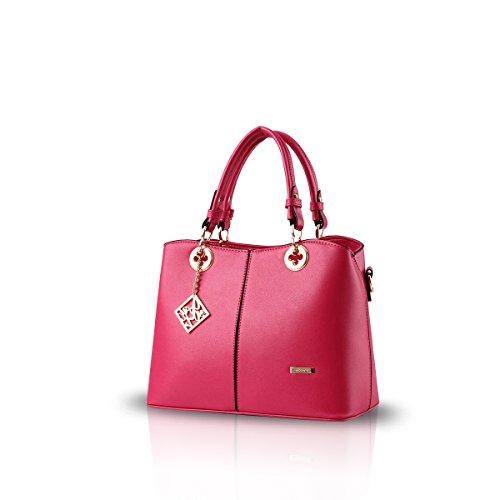 NICOLE&DORIS Nuove donne / Donna Fashion Boutique Top Handle borsa di Crossbody della spalla della borsa del Tote della cartella PU vino rosso Rose Red